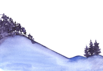 Watercolor sketch with the silhouette of the blue mountains and growing on them trees - firs and deciduous forest. Hand drawing on paper illustration.