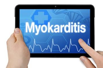 Tablet mit Diagnose Herzmuskelentzündung Myokarditis
