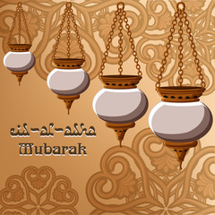 Eid-al-Adha Mubarak greeting card with traditional arabic lanterns, golden ornament and text on golden background.