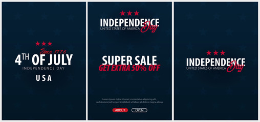 Set Posters of Fourth of July. 4th of July. Independence Day of the USA. Vector illustration