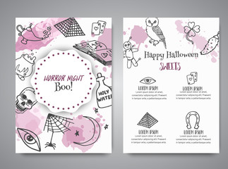 Hand drawn halloween brochure template. Horror night poster background. Spooky party invitation Vector