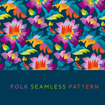 Bright color folk style floral seamless pattern.