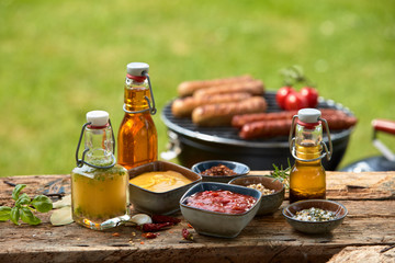 Selection of dressings, sauces, marinade and spice