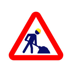 Under construction warning sign. Vector blue stickman with yellow helmet shoveling in red rectangle.