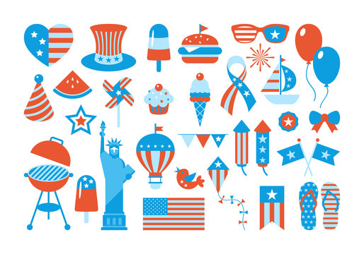 Independence Day of the United States, elements, stickers and patches