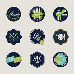 Restaurant menu labels. Set of vector design elements