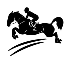 Equestrian sport. A logo of a rider on a horse jumping over an obstacle.
