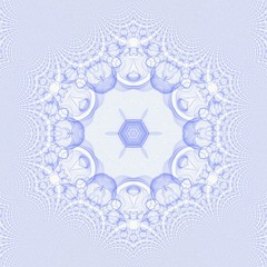 Creative mystic blue mandala. Kaleidoscope abstract wallpaper. Sacred geometry digital painting art. Magic fractal artwork. Symmetry meditate graphic design pattern. Print for fabric, textile or paper