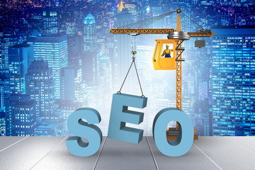 Search engine optimisation concept with crane