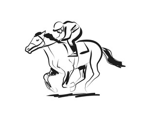 Vector ink sketch rider with a horse