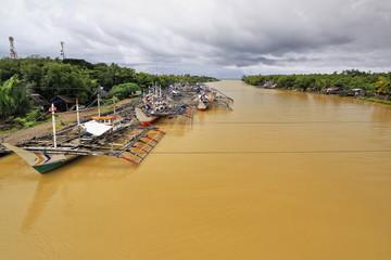 Fishing boats moored at the Bayawan river dock. Bayawan city-Philippines. 0494