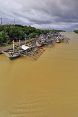 Fishing boats moored at the Bayawan river dock. Bayawan city-Philippines. 0495