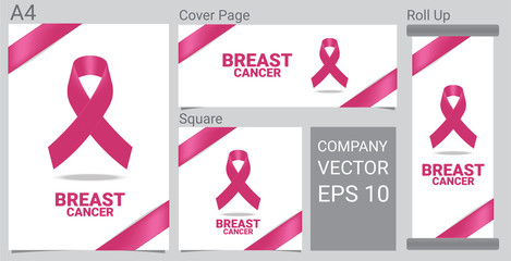 Mock up Realistic Breast Cancer icon with Pink awareness ribbon on white background Banner.