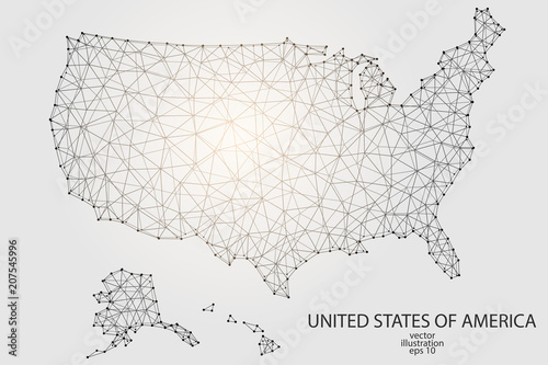 A map of United States of America consisting of 3D triangles, lines ...