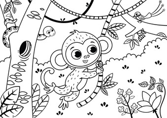 Black and white illustration of a cute monkey in the jungle. Vector illustration.