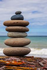 Acrylic Prints Stones in Sand Balanced Stone
