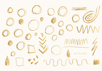 Set of gold hand drawn doodle pencil scribbles. Handmade texture.