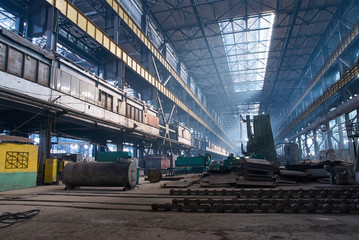 Factory workshop interior and machines. Abstract industrial background.