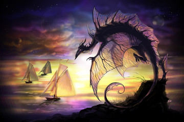 cartoon dragon and sailing vessel in another world