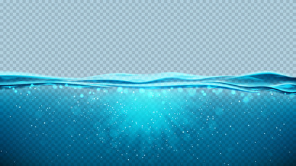 Transparent underwater blue ocean background. Vector illustration with deep underwater sea scene. Banner with with horizon water surface. Fototapete