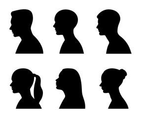Man and woman head profile. Vector illustration