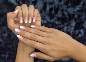 Manicure design french Ombre peach and white