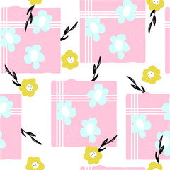 Seamless pattern with cute pastel flowers. Vector hand drawn illustration.