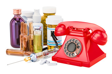 Medical service concept, phone with drugs. 3D rendering