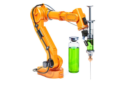 Robotic arm with syringe and vial, 3D rendering