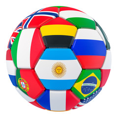 Soccer ball with flags, 3D rendering