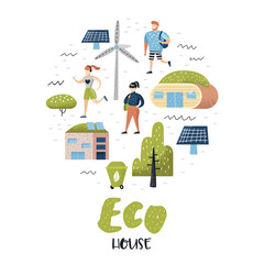 Green Town Concept. Environmental Conservation. Eco House Future Technologies For Preservation of the Planet. Alternative Energy Ecology Background. Vector illustration