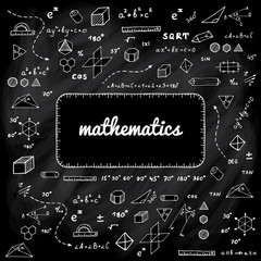Vector illustration with hand drawn mathematics doodles. Geometry science elements on black chalk board.