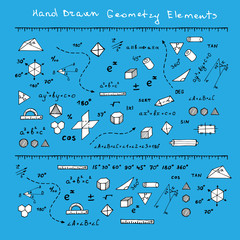 Vector illustration with hand drawn mathematics doodles. Geometry science elements on blue background.
