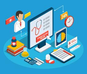 Medical Consultation Isometric Concept