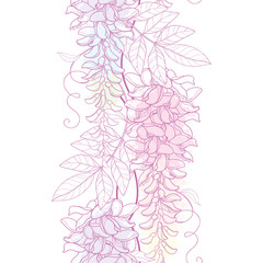 Vector seamless pattern with outline Wisteria or Wistaria flower bunch, bud and leaf in pastel pink and purple on the white background. Floral border with blooming contour Wisteria for summer design.
