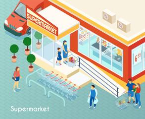 Supermarket Outdoor Isometric Background