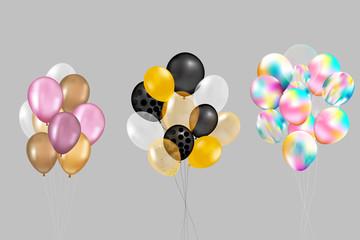 Flying Mega Set of colorful, shiny, holiday balloons isolated.