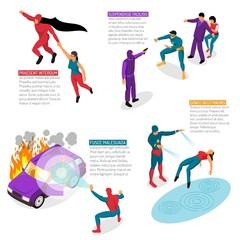 Super Hero Isometric Infographics