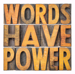 words have power message in wood type