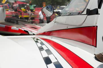 Hydroplane racing boat 's racing stripes