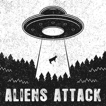 UFO abducts cow. Vintage illustration of Aliens Attack with spaceship and UFO light ray to Earth. Vector.