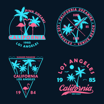 Vintage t-shirt design. Badges and emblems set with California prints. Graphics collection for apparel, labels and patches. Vector.