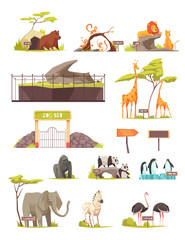 Zoo Animals Cartoon Icons Collection