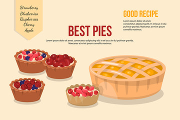 Vector illustration of cartoon pies