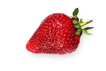 Single strawberry isolated on white background