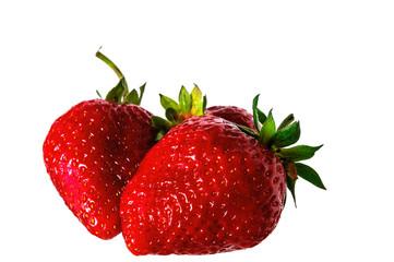 4790755 Strawberry. Fresh raw three berries isolated on white background.