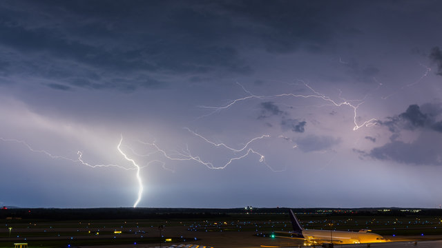 Lightning lights up the sky over Dulles International Airport