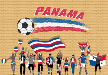 Panamanian football fans cheering with Panama flag colors in front of soccer ball graffiti