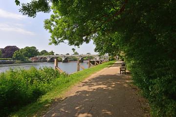 Thames Path at Richmond Lock and Weir.