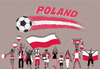 Polish football fans cheering with Poland flag colors in front of soccer ball graffiti
